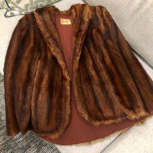 Vintage Lockwood Mahogany Brown Mink Fur Cape